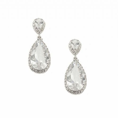 Crystal drop wedding earrings, bridal